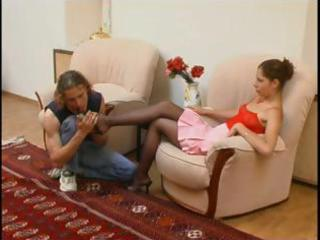 dark brown sweetheart teases him with her nyloned