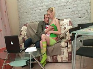 green socks are her solely garments