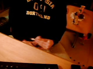 rod jerking off and cumming on the desk