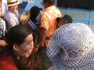 thailand village angels sizzling dance in public-
