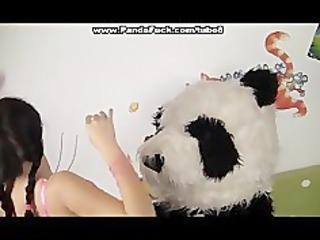 hot babe copulates with large plush bear