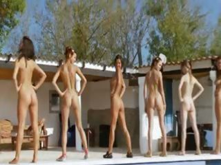 six stripped coeds by the pool from russian