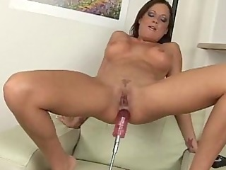 Sophia pounds a dildo machine