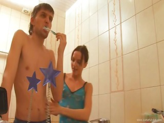 petite titted coed gangbanged in a washroom