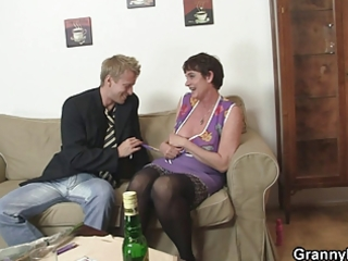 old mommy enjoys riding hard pecker