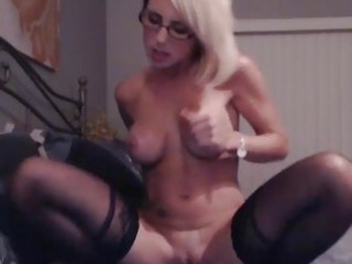 wicked breasty blond rides her toy hd