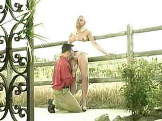outdoor pleasure with a gorgeous blonde t-girl