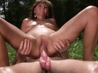 granny enjoys hawt sex with lad outdoor