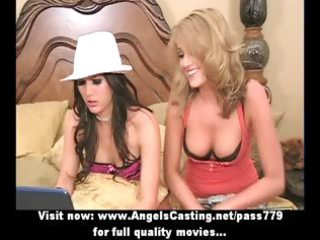 astounding beautiful blond and dark brown lesbo