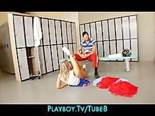 fit supple golden-haired cheerleader seduces her