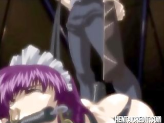purple-haired chick housemaid receives her booty