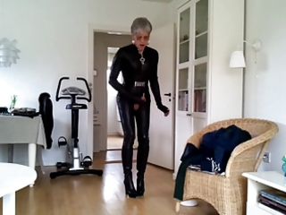 sissy hawt leather catsuit 11
