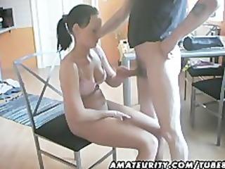 sexy breasty non-professional girlfriend sucks