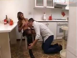 kitchen ejaculation for a hungry sheboy
