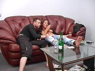 Drunk amateur smoking and sucking dick