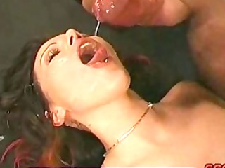 cum drooling bukkake brunette hair licking up