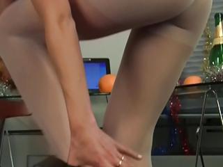 Annas Christmas pantyhose high heel tease