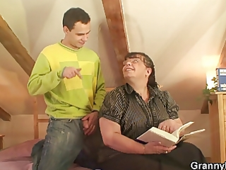 large titted aged lady is team-fucked by an