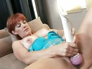 red sexy momma calliste pounds her slit with toys