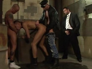 businessman watching and jerking off when stud