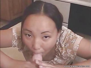 cute oriental girlfriend giving oral-job