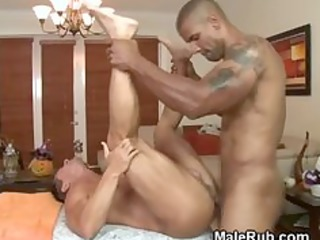 darksome masseur pounds his mmf clients a-hole on