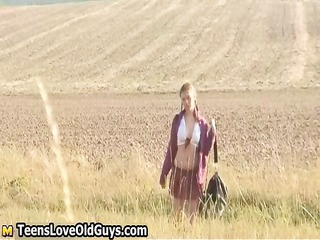 legal age teenager beauty on a hike outdoor