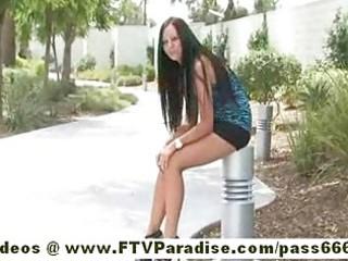 ftv girltessaadorable brunette hair gal public