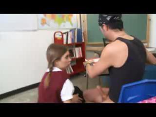 dark brown schoolgirls is in detention and bangs