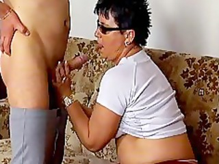 excited aged wife engulfing wang and acquires