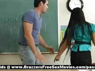 breasty dark brown teacher at school going