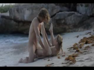 bizarre art sex of concupiscent pair on beach