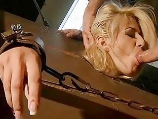Classy blonde gets bondaged and fucked