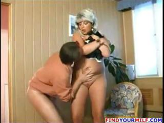 chunky golden-haired russian older receives and