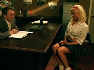 messy schoolgirl pounded on the desk