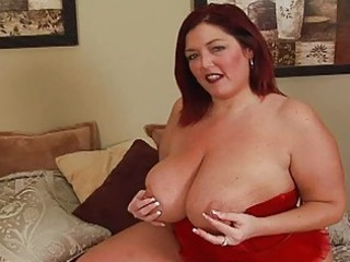 randy redhead corpulent momma with large bosom