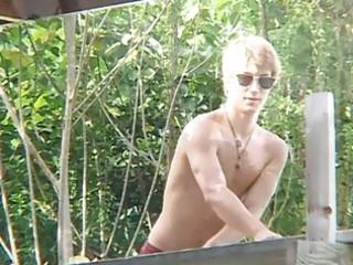 slender homo man shows off his rock hard body