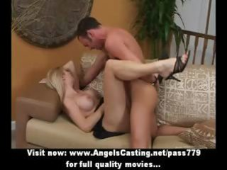 lustful blond with high heels is screwed and