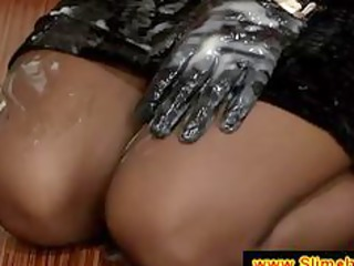 lady with gloves at the gloryhole