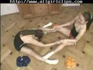 twin cheerleaders - teasing and tasting lesbo