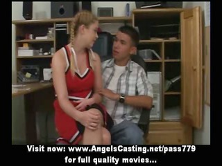 redhead cheerleader does oral pleasure for nerdy
