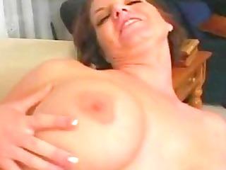 short haired brunette hair momma with large milk
