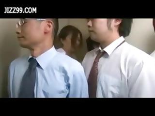 oriental secretary receives team-fucked in the