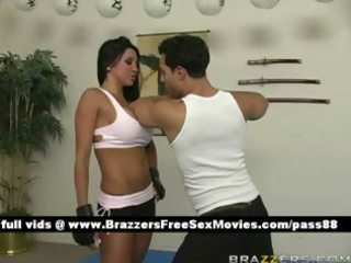 lewd dark brown hottie learns how to fight