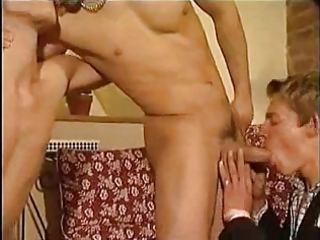 threesome fellows amazing barebacking.