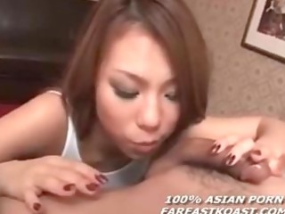 oriental gives blow job and receives love bubbles