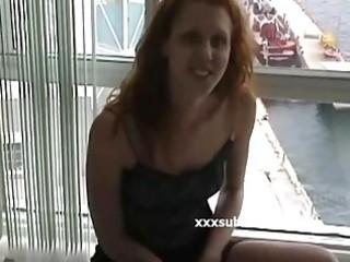geek girlfriend redhead upskirt fingering