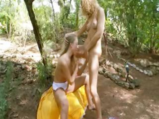 fairhair princesses dildoing in a forest